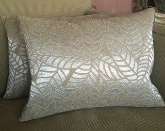 One Pierre Frey 'Silver Leaf' Textured Linen Lumbar Down Filled Throw Pillow