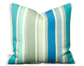 Designers Guild Lumber Cushion Cover Monticello Blue Striped Pink Green 24x14