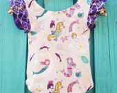 Mermaid, Leotard, Mermaid Leotard,Organic Bodysuit, One Piece, Summer, Girls Leotard, Costume, Baby, Clothing, Birthday