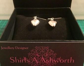 Stunning Silver Handmade Heart Earrings