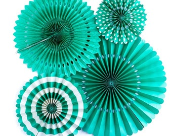 Green Party Paper Rosette Fans for a Modern Chic Event