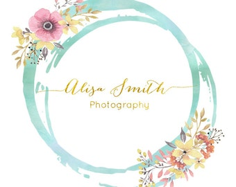 Gold Logo, Premade Photography Watermark Logo, Watercolor Premade Logo, Business Branding, Custom Logo Floral Boutique logo Handwritten Logo