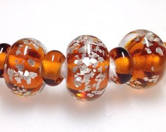 Handmade Glass Beads - GlitteringTopaz  Glass Beads - A Set of 7 Handmade Glass Beads