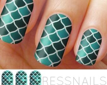 Blue Multicolor Fish Scales, Mermaid Nail Wraps, Nail Decal, Nail Tattoo, Nail Stickers, Nail Vinyls