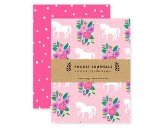 Pocket Journal Set, Mini Notebooks Set of 2, Pink Unicorns
