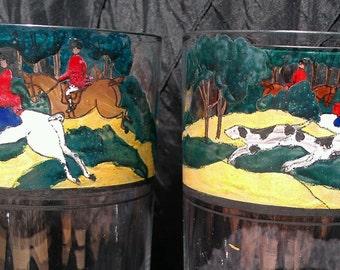 hand painted highball glasses, hunt scene, drinking glasses, horse lover's gift glass set,