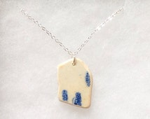 Isle of Lindisfarne (Holy Island) Northumberland sea pottery necklace, beach jewellery, beach necklace, sea pottery pendant, beach pottery