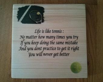 Tennis Art/ Tennis  Quotes/ Wood Art/ Life is like tennis....