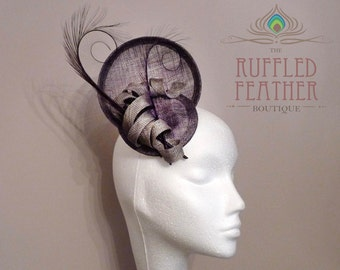 Grey sinamay fascinator, hat, head piece with a spirals and purple burnt curled pheasant feathers - RITZ