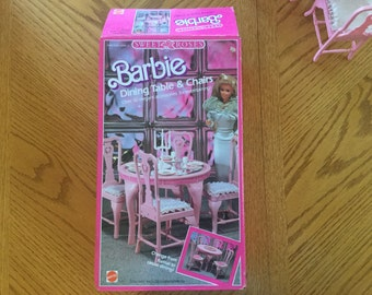 Barbie Dining Table and Chairs, Sweet Roses with Accessories Playset, Vintage 1987, with original box