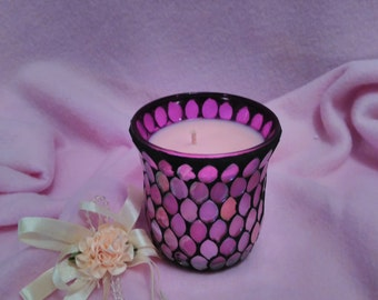 mosaic scented candle , purple mosaic jar filled with cherry blossom scented soy wax