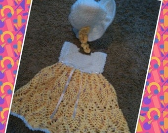 baby dress and sunhat set crochet set suited for 3-6mnth old baby