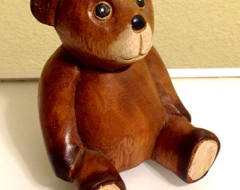 Vintage Hand Carved and Painted Sitting Bear