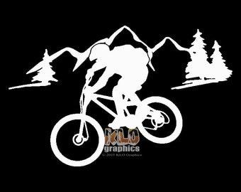 MOUNTAIN BIKE w MOUNTAIN vinyl sticker Trail Free Ride Downhill X C Single Track