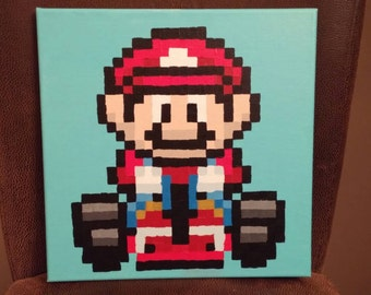 Mario from Mario Kart SNES pixel painting 12x12 canvas
