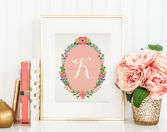 Nursery Monogram Letter K Wall Art Letter K Art Monogram Art Floral Monogram Art Baby Shower Gift Printable Monogram Calligraphy Girls Room