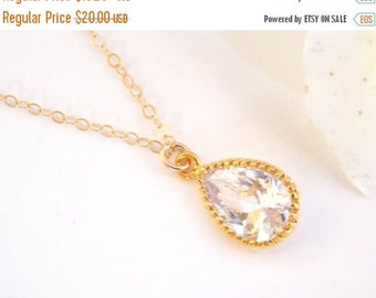 Wedding Jewelry, Cubic Zirconia Necklace, Bridal Jewelry, Pendant, Clear, Crystal, Bridesmaid Necklace,Bridesmaid Gifts,Gold Filled Necklace