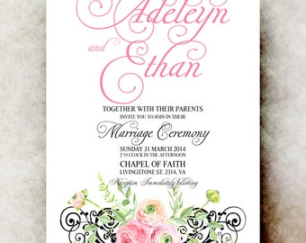 Blush Wedding Invitation printable - elegant Wedding Invitation, printable wedding invitation, Rustic wedding invitation