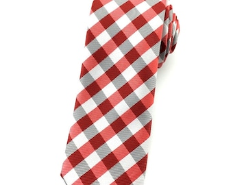 Red Black and White Pattern tie 6.5 cm skinny tie. Slim Tie. Narrow Thin Tie. Skinny Tie. Formal Necktie.Red ties. Skinny tie