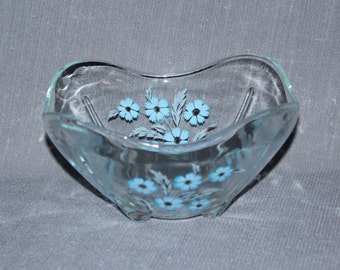Glass serving bowl with blue flowers, decorative bowl, dip bowl,candy bowl, nut bowl