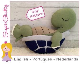 Felt Pattern Tony the Turtle, softie pattern animal, plush pattern, pdf sewing pattern by SuperSkattig