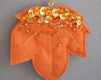 Orange Felt Maple Leaf
