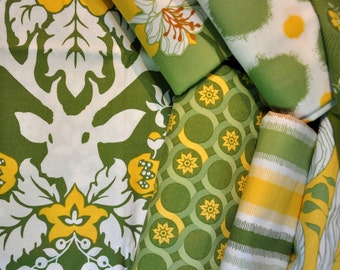 Destash quilt cotton fabric Deer Valley half yard bundle 7 pieces Green Yellow and White Joel Dewberry  out of print hard to find
