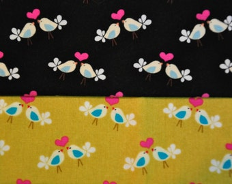 Fabric destash Quilt cotton set of 2 Fat Quarters Michael Miller lovebirds Love birds
