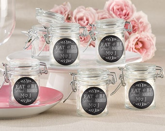 Personalized Glass Favor Jars Eat Drink & Be Married Set of 12 Black White Monogram Rustic Favors Clear Glass Containers Bridal Shower Party