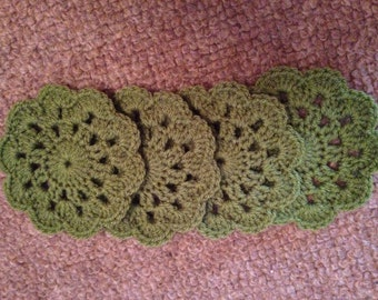 Handmade Olive Green Crocheted Coasters (Set of 4)