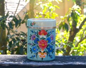 Beautiful Vintage Style Hand Painted Enamel Tea Tins