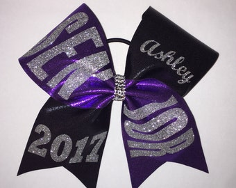 SENIOR Cheer Bow Purple Black and Silver (additional colors available)