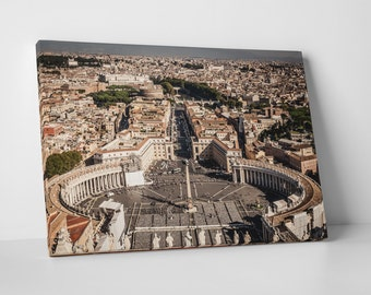 Rome Italy Saint Peter Square Vatican Skyline Gallery Wrapped Canvas Print