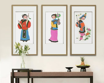 Original watercolor, Large painting, Chinese art, 3 piece set wall art