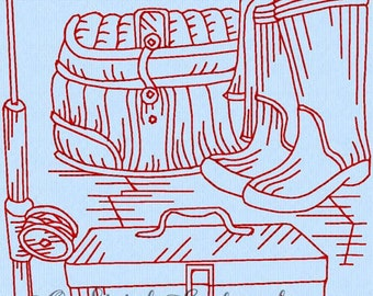 Redwork machine embroidery pattern.  Gone fishing 7. Instant Download