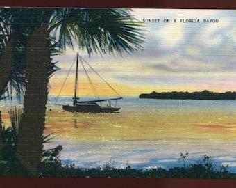 Sunset On A Florida Bayou Vintage Postcard 046