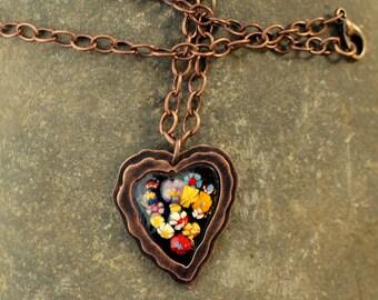 enamel/copper heart necklace