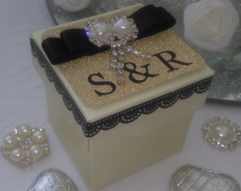 Personalised Ivory & Gold wedding favour box chocolate filled and ready assembled