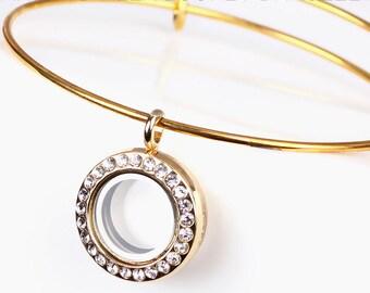 Rhinestone Round Floating Locket bangles Bracelet /memory Locket bangles Bracelet, Expandable Wire Bangle Bracelets with Floating Locket