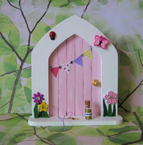 Pink fairy door free standing with fairy by for Fairy door with key