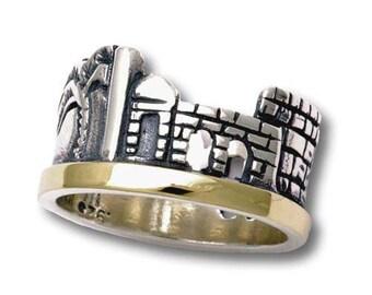 Jerusalem Sterling Silver and 14k Gold Ring Depicts the Old City of Jerusalem