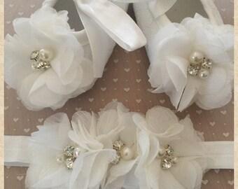 Ivory Rhinestone/Pearl baby shoes/headband, baby/infant Ivory shoes, baptism shoes, christening shoes, newborn gift, baby gift
