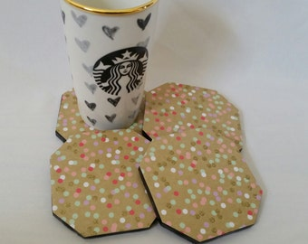 Set of Four Multi-Colored Polka-Dot Ceramic Coasters