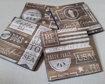 Set of Four Summer Word Coasters / U.S.A. Coasters / 4th of July Coasters / Ceramic Coasters