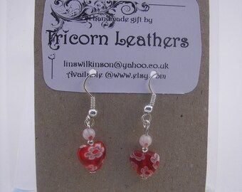 red and white millefiori heart earrings