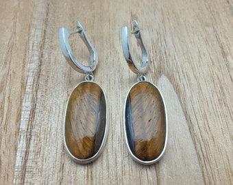 Tigers Eye Earrings // 925 Sterling Silver // Closed Backing // Oval Shape