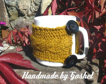 Hand Knit cozy mug, mustard cozy mug, red and black knit cozy mug, cozy winter,