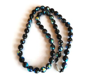 Black Glass Bead Necklace, Vintage Aurora Borealis Necklace, Black Jewelry for Women, Fashion Jewellery for Her, gift for grandma