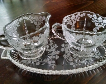 radiance crystal etched depression glass sugar creamer and tray