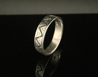 Men's Geometric Silver Ring // 925 Sterling Silver // Hand Cast // Men's Ring // Size 11